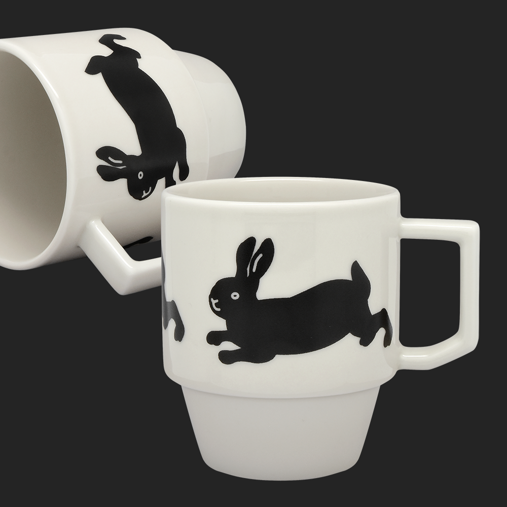 Happy Bunny Block Mug by Hasami