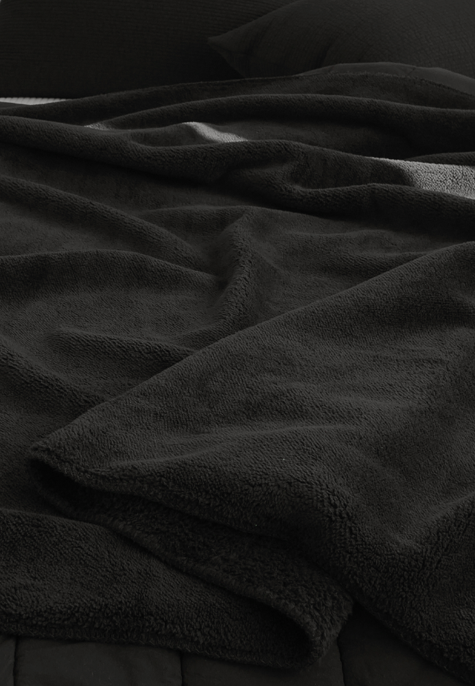 Furry Black Fleece Blanket